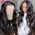 Meya Body Wave 13x4 парики на сетке спереди, предварительно выщипанные Детские волосы, бразильские человеческие волосы, длинный прозрачный передни...