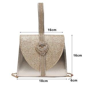 Image 3 - Luxy Mond Frauen Leder Handtasche Luxus Diamant Kupplung Geldbörse für Braut Partei Schulter Tasche mit Herz Kristall Dekoration ZD1490