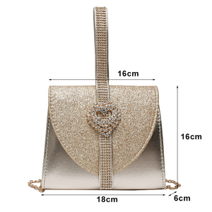 Image 3 - Luxy Moon Women Leather Handbag Luxury Diamond Clutch Purse for Bridal Party Shoulder Bag with Heart Crystal Decoration ZD1490