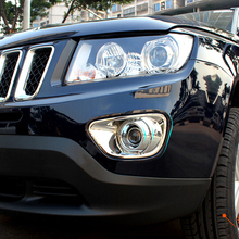 цена на Trim Shell Car Styling Exterior Accessories Chrome ABS for Jeep Compass 2011 12 13 2014 Car Front Fog Lamp Light Frame Cover