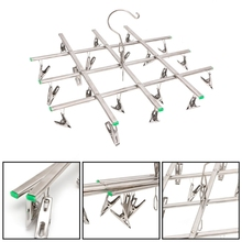 Windproof Laundry Hanger Collapsible Stainless Steel Hanging Rack 20 Clothespin
