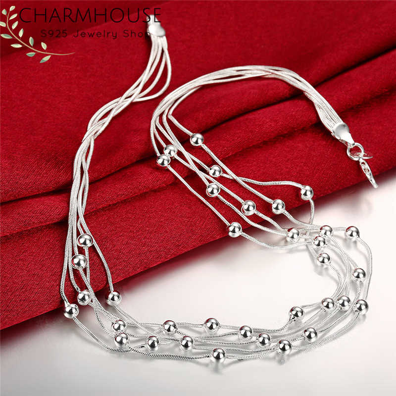Pure 925 Sterling Silver Necklaces For Women Snake Chains Bead Necklaces Collier Choker Fashion Jewelry Accessories Bijoux