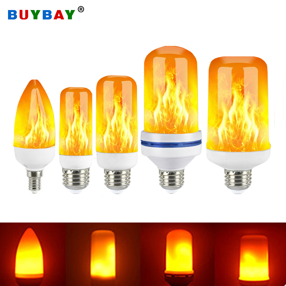 2020 New E27 Flame Bulb LED Dynamic Flame Effect Fire Light Bulbs Corn Bulb Creative Flickering Emulation Decor LED Lamp Lights