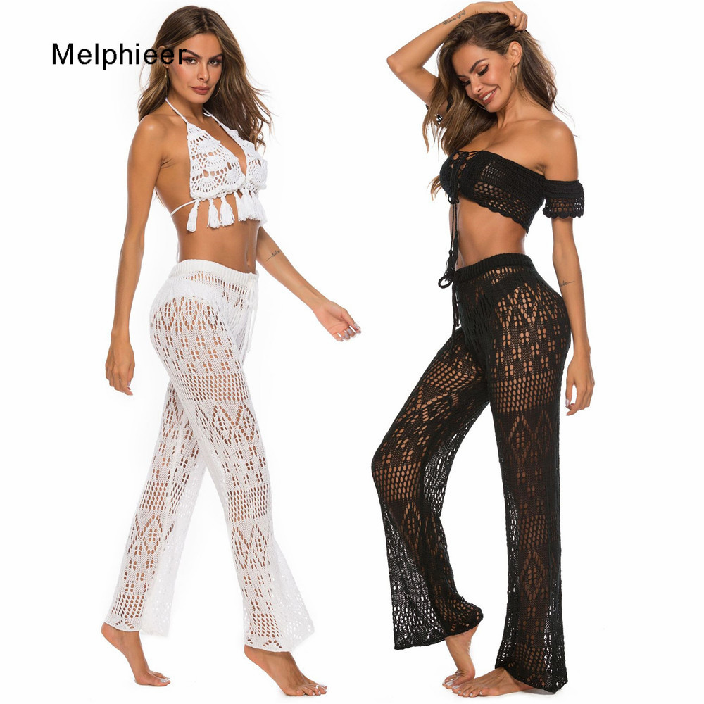 Melphieer Lady's 2020 Beachwear Clothing Cutout Knitting Trousers Crochet Beach Cover Pants Drawstring Belt Beach Cover Bottom