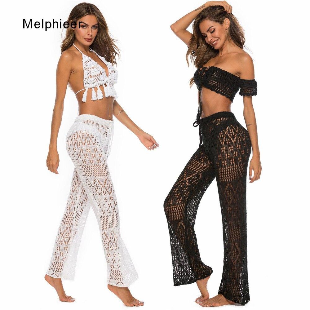 Melphieer Lady's 2020 Beachwear Clothing Cutout Knitting Trousers Crochet Beach Cover Pants Drawstring Belt Beach Cover Bottom