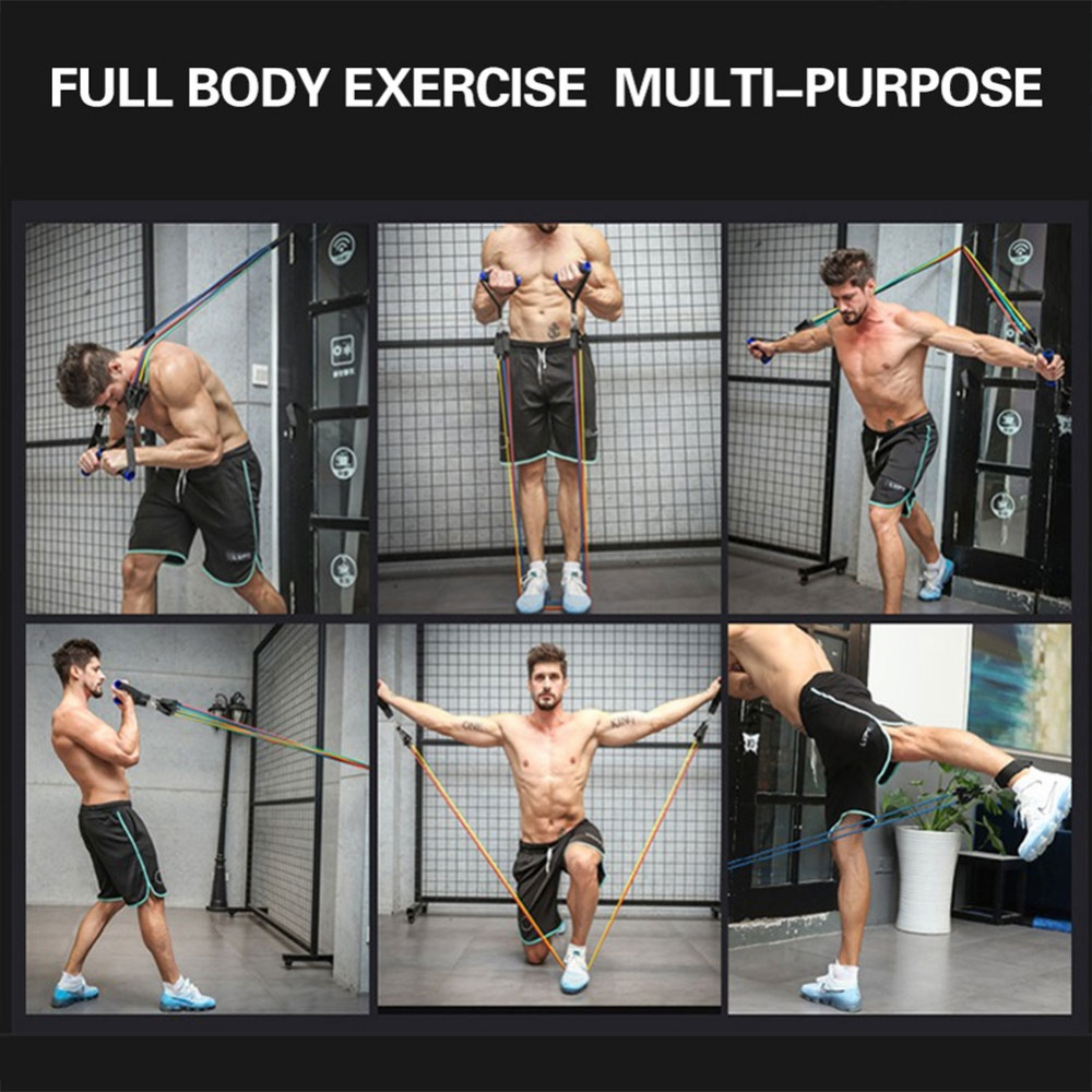 11Pcs//Set Latex Resistance Bands Crossfit Training Exercise Yoga Tubes Pull Rope