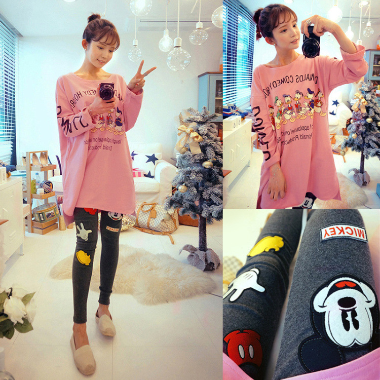 Autumn Women Mickey Donald Duck Cartoon Tracksuit Tops Pants Outfits Matching Sets Fashion Suit Clothes Big Size Two Piece Set