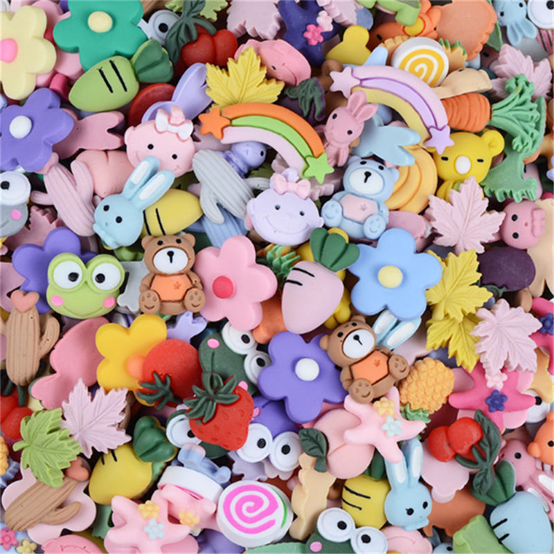 100pcs Kawaii Resin Flatback Cabochon Animal Fruit Plant Mixed Cartoon Slime Jewelry Hair Accessory DIY Findings Scrapbook