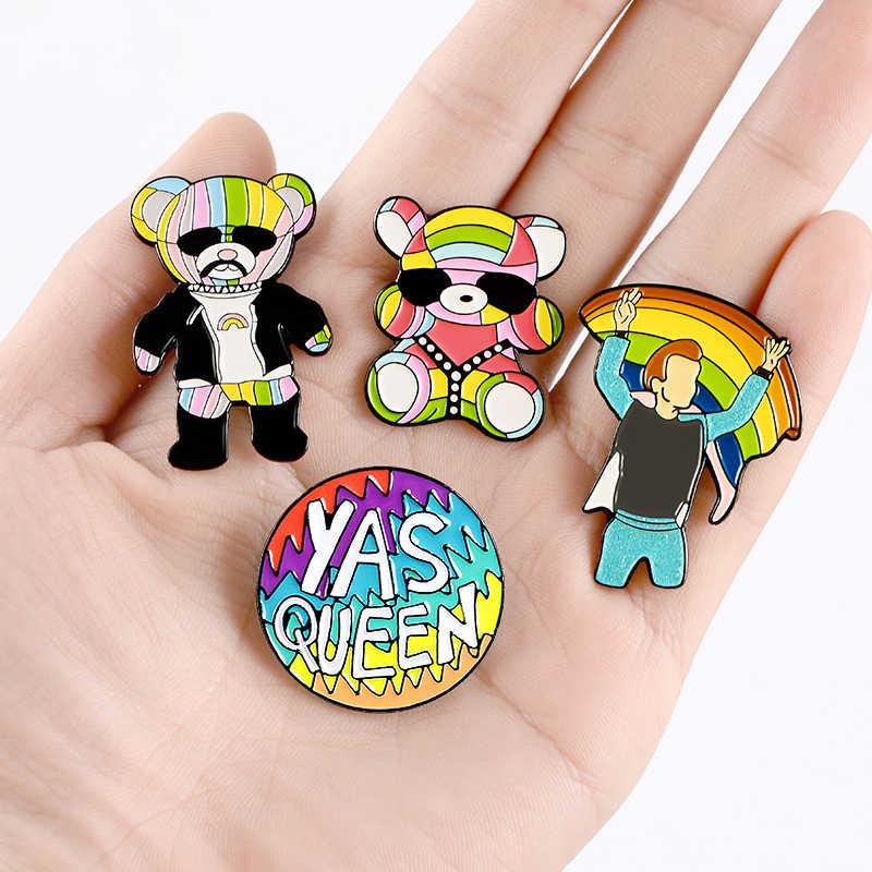 7 รูปแบบ Rainbow Enamel Pins Love Earth สไลด์สายรุ้งน่ารักเด็กเสื้อ Badge CUSTOM DENIM กระเป๋ากางเกง lapel เข็มกลัดเครื่องประดับของขวัญ
