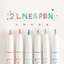 Многофункциональная симпатичная креативная двухлинейная цветная гелевая ручка с маркировкой, ручка для изготовления чернил, школьные офисные принадлежности, Escolar Papelaria