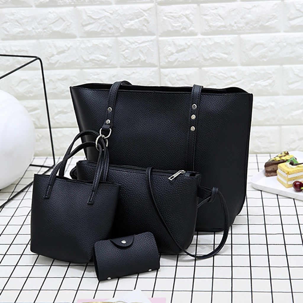 4Pcs Delle Donne Borsa di Cuoio del Modello + Crossbody Bag + Messenger Bag + Card Cornici e articoli da esposizione solido della chiusura lampo Elegante borse Delle Signore set Portafoglio
