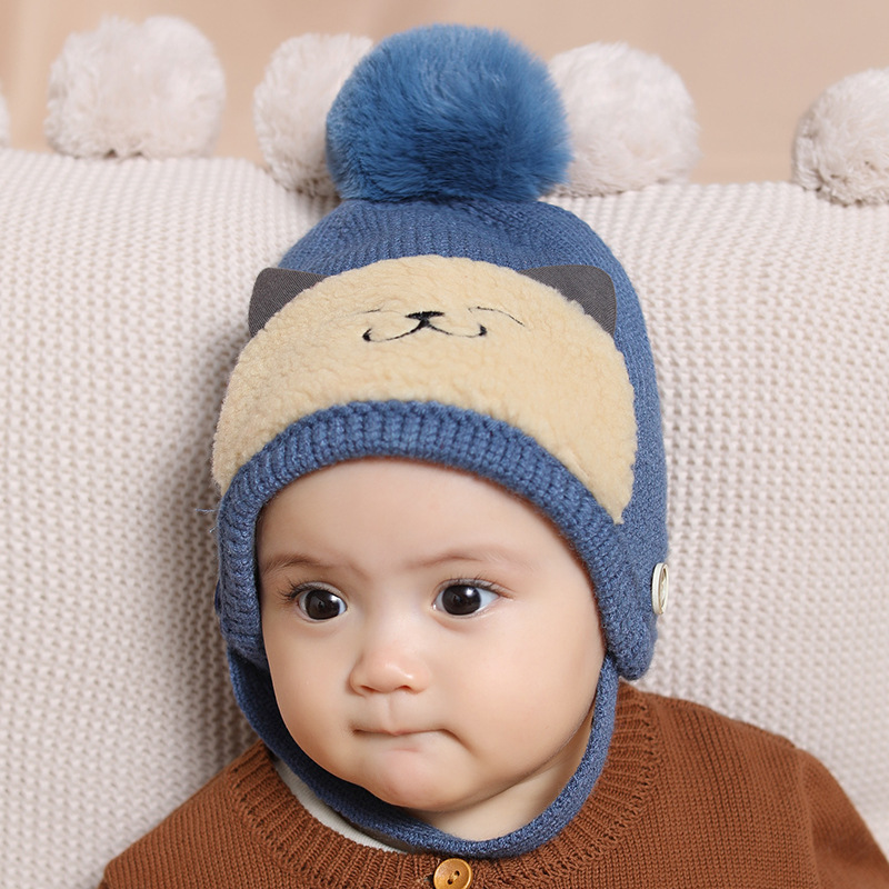 2019 New Wool Knitted Beanie Toddler Baby Infant Hat Warm Cat Ball Cute Lovely Kids Hats Winter