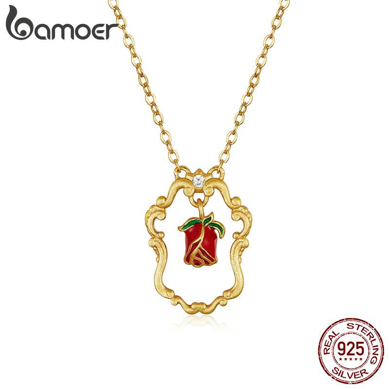 Bamoer Silver 925 Jewelry  Gold Color  Retro Pattern Pendant Necklace For Women Vintage Enamel Red Rose Flower Jewelry BSN157