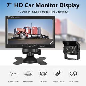 """JMCQ 7 """"Wired Auto monitor TFT Car Rear View Monitor Parcheggio Rearview di Visione Notturna 18 LED Impermeabile di IR + reverse Camera-in Monitor per auto da Automobili e motocicli su"""