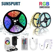 Tira de luz flexível 5m-20m smd2835 5050, dc12v, rgb/rgbw/rgbww, cor rgb conjunto de tira de led + controle remoto + adaptador de alimentação