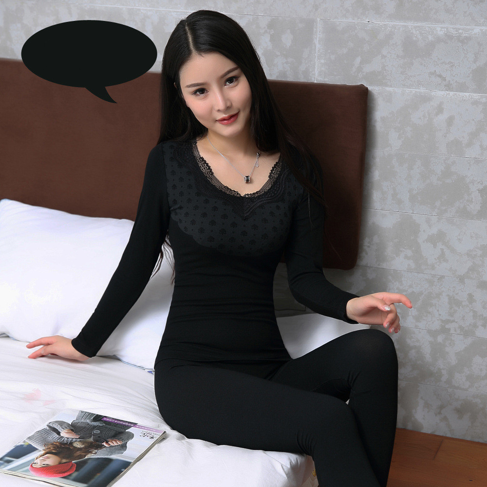 2018 New Autumn Winter Seamless Second Thermal Female Skin Lace V-neck Slim Body Thermal Underwear  For Women Modal Long Johns