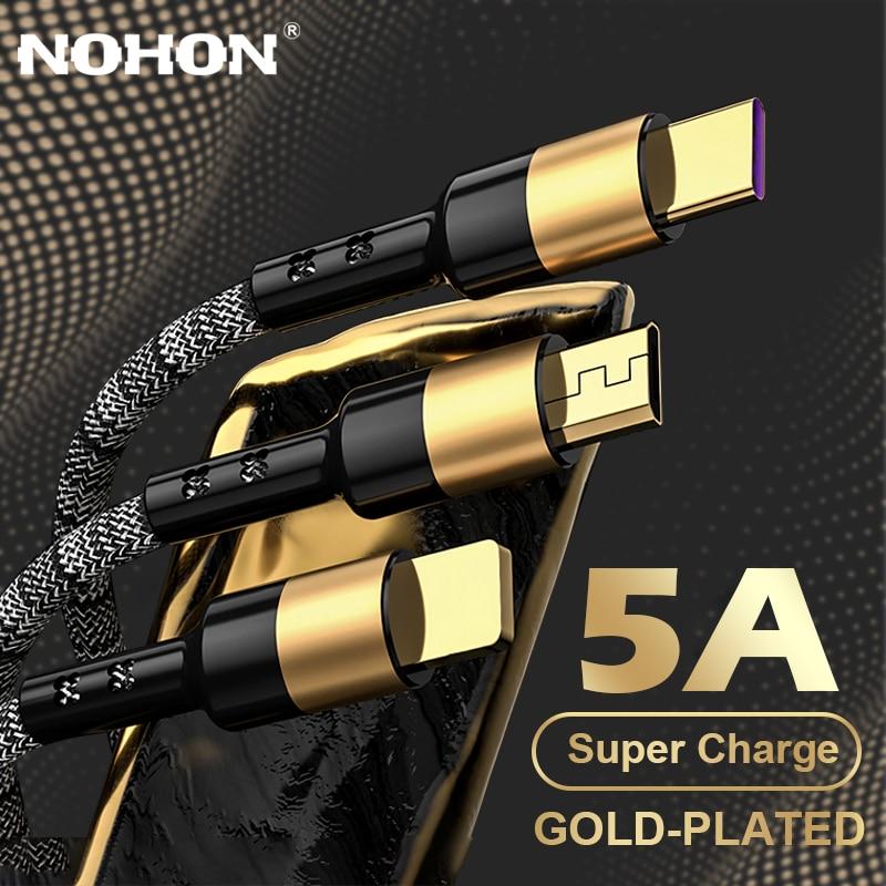 NOHON 5A Vergoldeten 3 in 1 USB Kabel für iPhone Kabel 11 12 Pro Max XS Schnelle Lade Micro USB kabel Typ C Kabel für Xiaomi Huawei