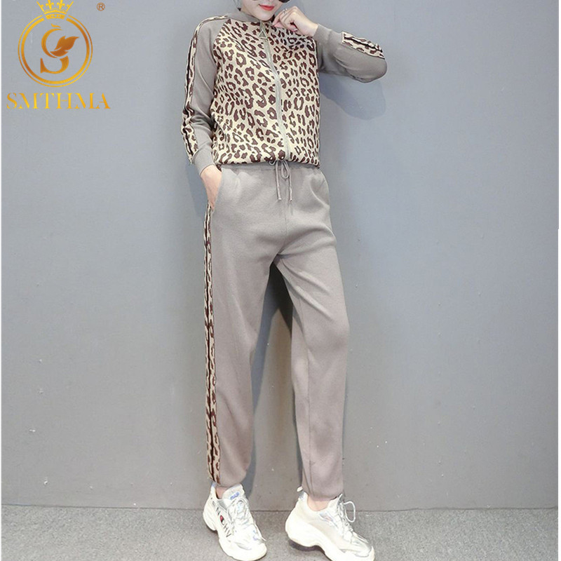 Winter Leopard Print Zipper Knitted Cardigans + Pencil Pants Women Fashion Sport Tracksuits Slim Jacket Two Piece Pants Sets