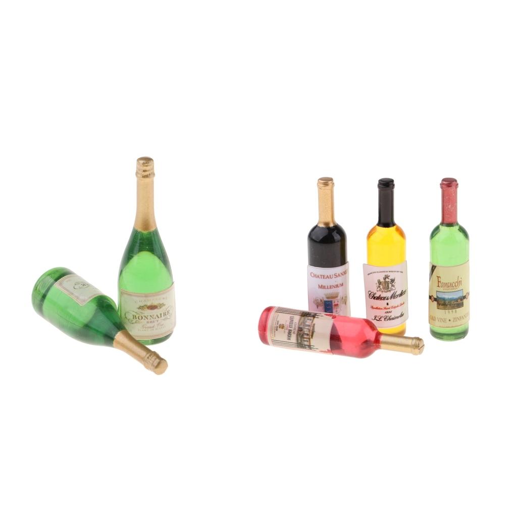 Details about  /6Pcs 1:12 Dollhouse Miniature Beer Wine Drink Bottle Doll Kitchen AccessoriN*sh
