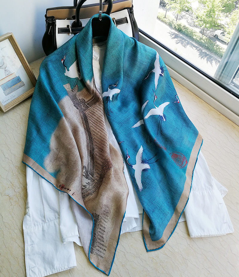 100% Pure Silk Satin Square Big Scarf Shawl Wrap Kerchief 108cm 42.5