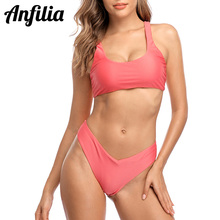 Anfilia Bikini Set Women Swimsuit Sexy Swimwear Solid Color Bathing Suit Triangle Cutout Beachwear Push Up Sexy Bikini
