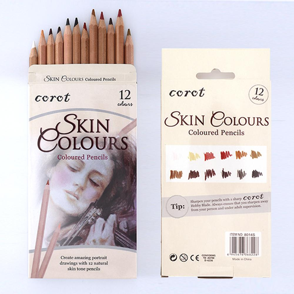 Professional 12Pcs Soft Pastel Pencil Set Wood Skin Color Pastel Charcoal Colored Pencil For Painter Sketch Drawing Supplies