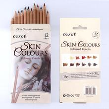 Professional 12Pcs Soft Pastel Pencil Set Wood Skin Color Charcoal Colored for Painter Sketch Drawing Supplies