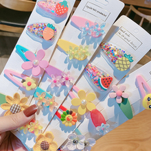 5/10Pcs/Set Baby Girls Fruit flower Sequin Shiny Colorful Hair Clips Sweet Headw