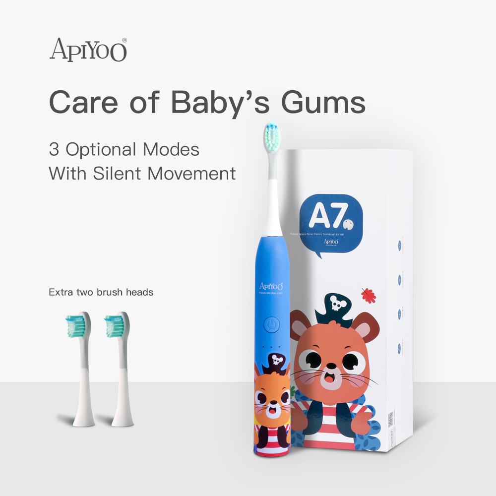 Apiyoo Sonic Electric Toothbrush For Kids , Cartoon Design, 3 Modes With Timer Waterproof Adjustable Vibration Intensity