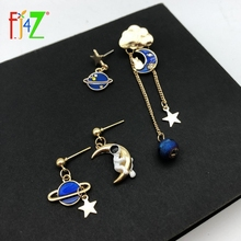 F.J4Z Blue Planet Moon Earrings for Women Lovely Spaceman on the Moon Statement Earrings Girls Jewelry Gifts Anti-allergy on the moon