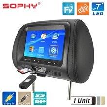 Monitor universal de 7 polegadas para carro, monitor de tela de descanso de cabeça para carro, entretenimento traseiro, player multimídia, geral av usb sd mp4 7048