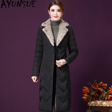 AYUNSUE Long Women's Down Jacket Light Duck Down Coat Winter Real Mink Fur Collar Autumn Puffer Jacket 2019 X7701 KJ3482(China)