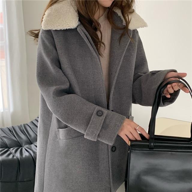 Фото зимние женские свободные chic верхняя одежда повседневный кардиган