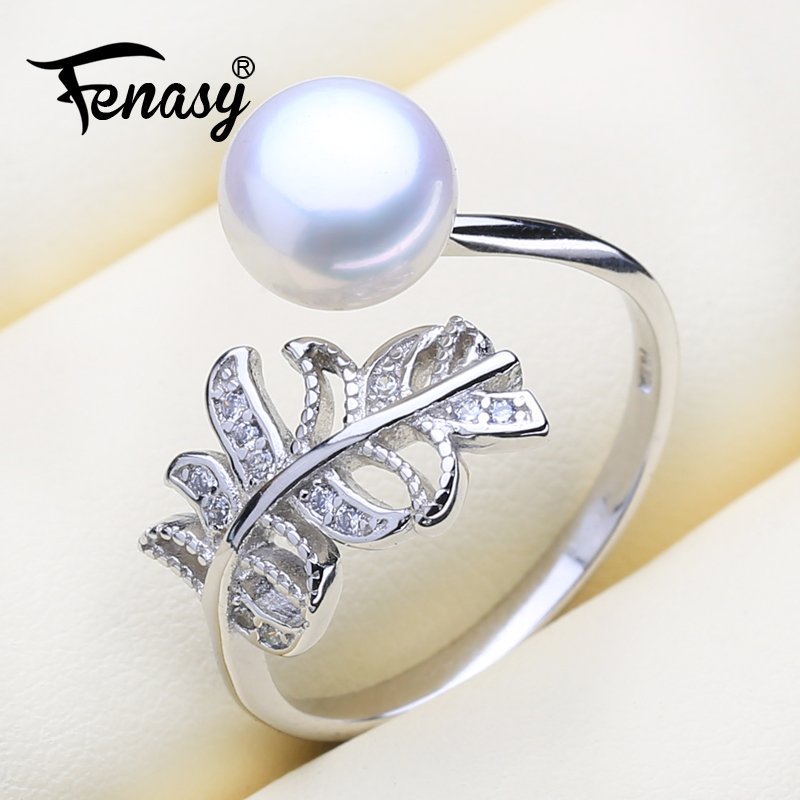 FENASY Natural Pearl rings New Fashion Bohemian Leaf 925 Sterling Silver Zicron Party Rings For Women Engagement Ring