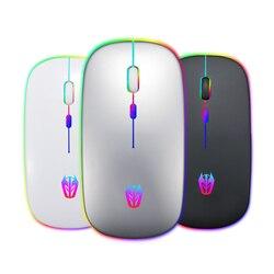 A5 bezprzewodowa mysz 2.4GHz odbiornik 1600DPI akumulator kolorowe podświetlenie Office Home praca myszy do gier na laptopa komputer stancjonarny