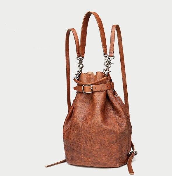 Couro genuíno vintage feminino sólido pequeno balde saco cinta mochila - 2