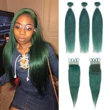 Пряди Remy Forte с застежкой, прямые нефритовые зеленые светлые человеческие волосы, пучки с застежкой, 3 бразильские волосы Remy, волнистые пряди