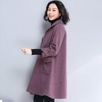 Loose Wool Coat Women Large Size Cloak Woolen Coat Female Jacket Blue Long Autumn Winter 2020 Casaco Feminino KJ377