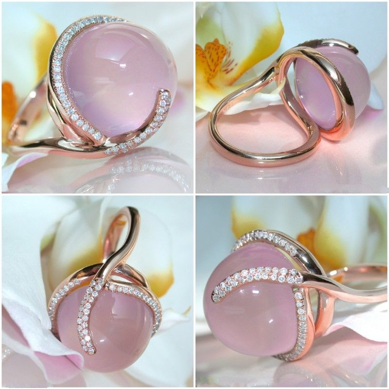 14K Rose Gold Moonstone Diamond Ring for Women Oval Pink Topaz Bizuteria Anillos Wedding Gemstone Jewelry 14K Cirle Ring Box