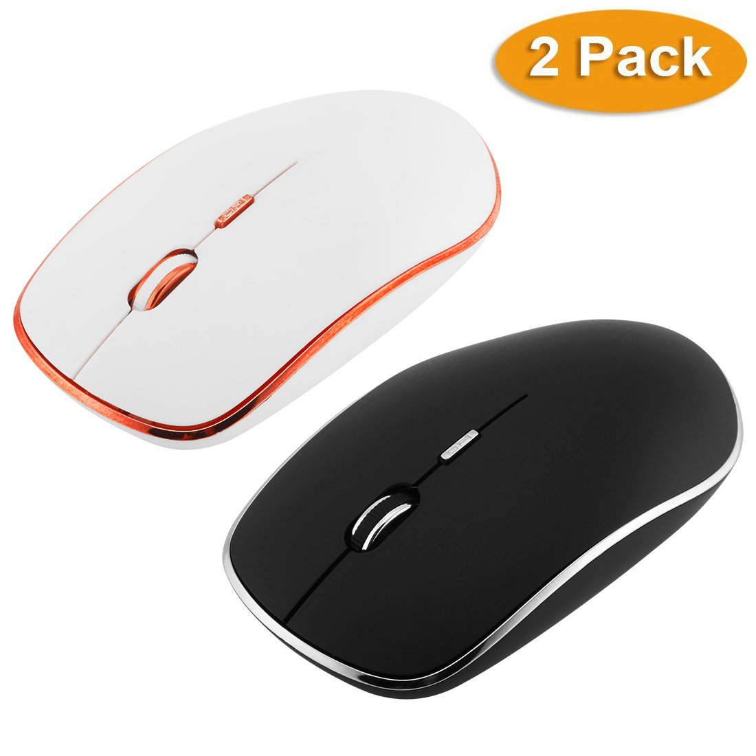 2.4G Wireless Mouse Slim Silent Computer Mouse With Nano Receiver,1800DPI Adjustable Optical Mouse Silent Click For PC Laptop
