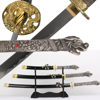 Free Shipping Dragon Samurai Sword 3pcs/Set with Stand Real Carbon Steel Blade Gold Metal For Display Martial Art Supply
