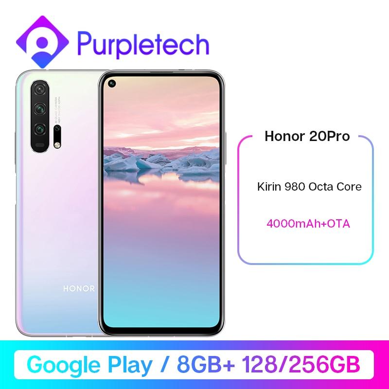 HONOR 20 Pro Google Play Smartphone 6.26''8GB 128GB Kirin 980 Octa Core GPU Turbo3.0 4000mAh 32MP Camera Android 9 Multilanguage