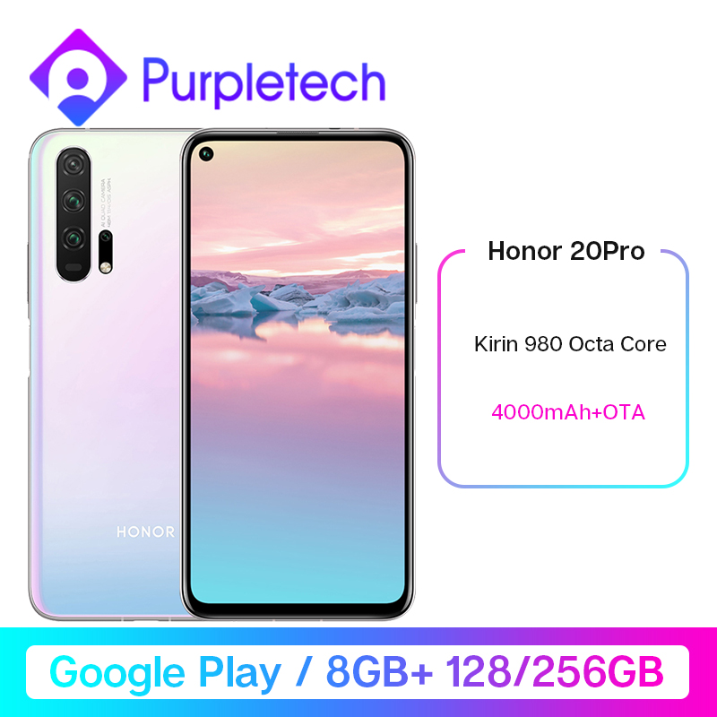HONOR 20 Pro Google Play Smartphone 6.26 ''8GB 128GB Kirin 980 Octa Core GPU Turbo3.0 4000mAh 32MP caméra Android 9 multilingue