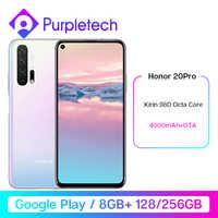 HONOR 20 Pro Google Play Smartphone 6.26 ''8GB 128GB Kirin 980 Octa Core GPU Turbo3.0 4000mAh 32MP caméra Android 9 multilingue