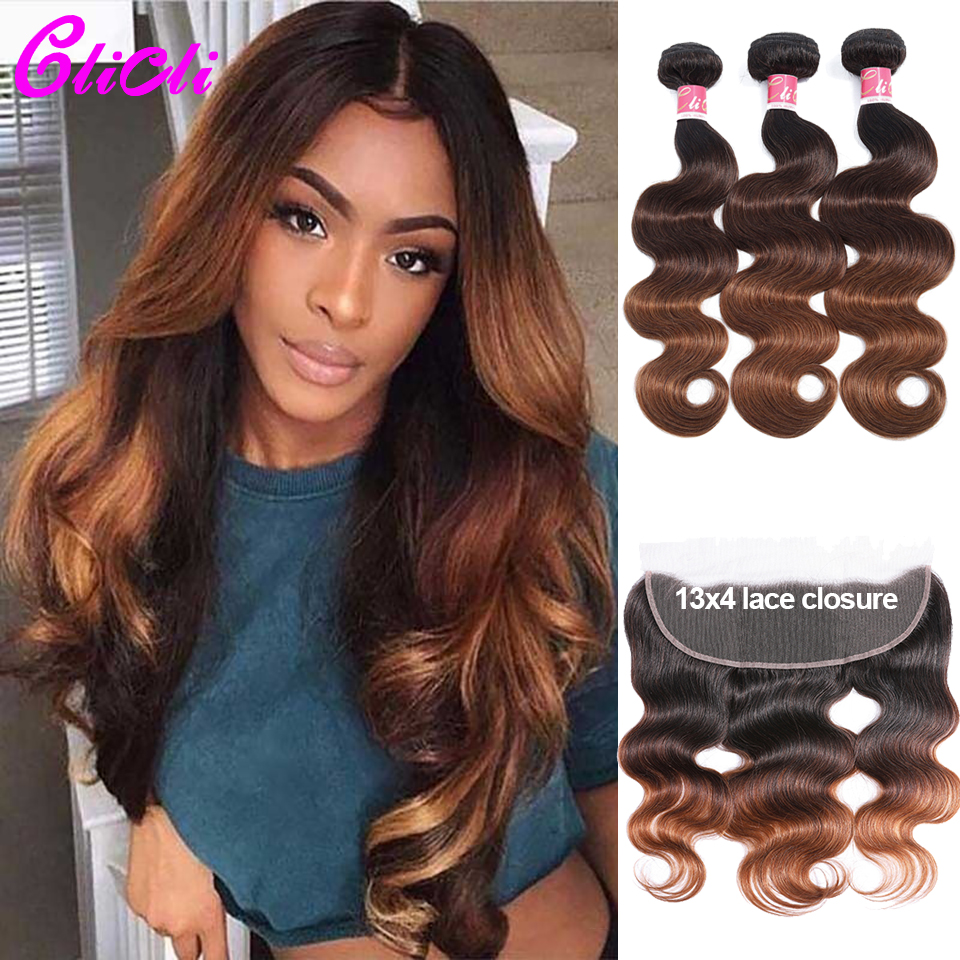 1B 4 30 Three Tone Bundles With Frontal Body Wave Human Hair 3 Bundles With 13x4 Lace Closure Brazilian Remy Hair Weave Clicli