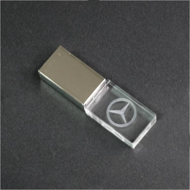 New Mercedes Benz Car Logo  Flash Crystal Transparent USB 2.0 Flash Drive 4GB 8GB 16GB 32GB USB FLASH DRIVE Custom Logo For Gift