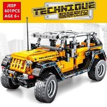 601Pcs Technic Jeeps Wrangler Rubicon Off-road Vehicle Car Model Playmobil Building Blocks Sets DIY Creator Bricks Kids Toys недорого