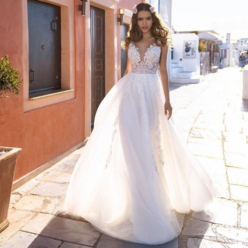 Eightale Boho Wedding Dress Simple V-Neck Appliques Lace Backless Tulle Vintage Wedding Gowns Beach Bride Dress Vestido De Novia