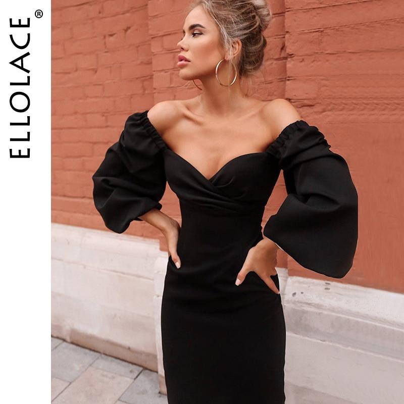 Ellolace Sexy Deep-V Elegant Long Dress Women Fuff Long Sleeve Bodycon Slim Ladies 2019 Fashion Party Dresses Female Black Dress