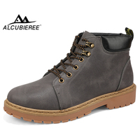 ALCUBIEREE Autumn Outdoor Tough Mens Work Boots Casual Lace up Ankle Boot for Men Anti skid Desert Tooling Shoes Cowboy Boot